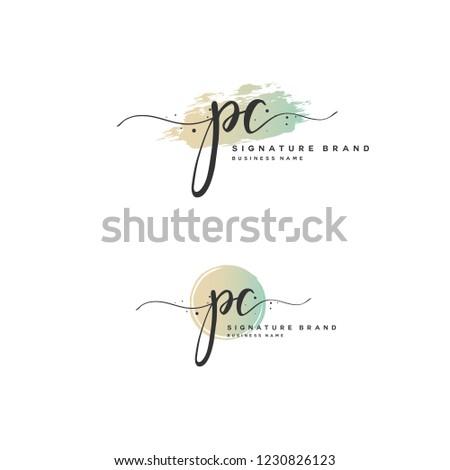 P C PC Initial logo template vector Stock fotó ©