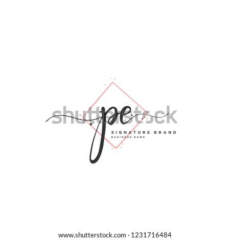 P E PE Initial letter handwriting and  signature logo.