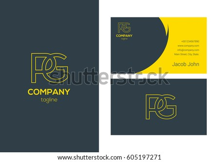 P & G Letter logo design vector element with Business card template