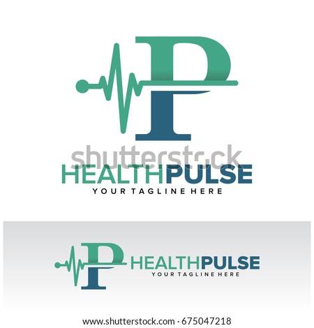P Health Pulse Letter Logo Template Design Vector, Emblem, Design Concept, Creative Symbol, Icon