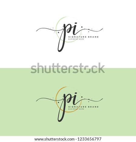 P I PI Initial logo template vector Stock fotó ©