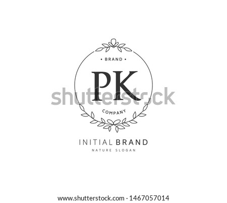 P K PK Beauty vector initial logo, handwriting logo of initial signature, wedding, fashion, jewerly, boutique, floral and botanical with creative template for any company or business. Stock fotó ©