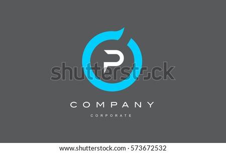 p letter alphabet blue circle