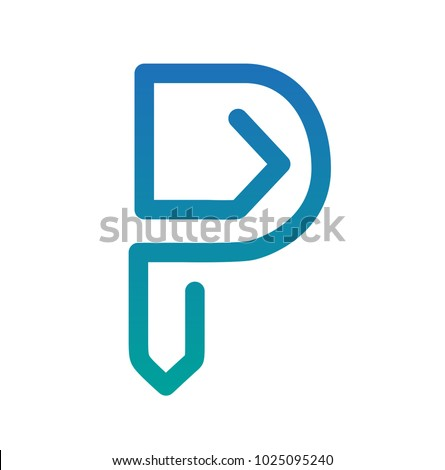 P Letter and Paper Clip Modern Flat Logo Icon Emblem