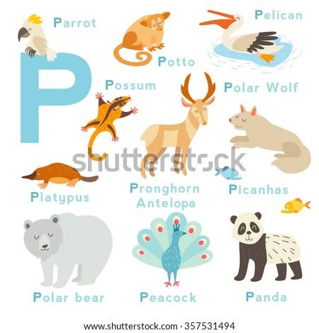 p letter animals set english