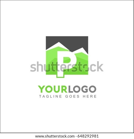 P Letter Green Forest. Minimal and Modern Mountain Logo.