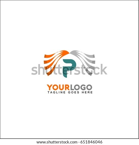 P letter line clinic logo with dynamic elements. Wave concept vector design.