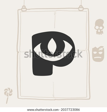 P letter logo with a eye. Vector template for your Halloween poster design. Zdjęcia stock ©