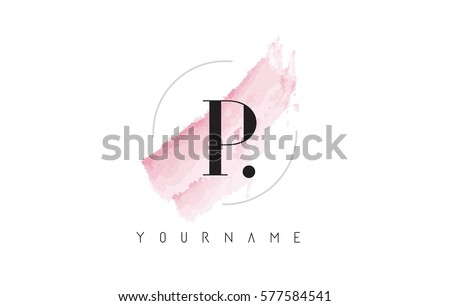 p letter logo with watercolor