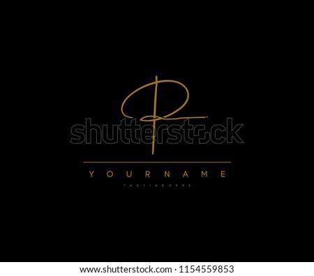 P Letter Manual Elegant Minimal Signature Logo