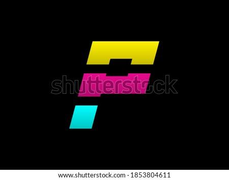 P letter vector desing, Cmyk color font logo, . Dynamic split blue, pink, yellow color on black background. For social media,design elements, creative poster, web template                       Zdjęcia stock ©