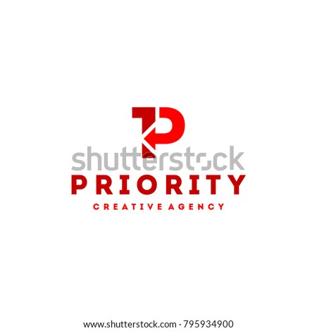 P Logo. Priority Logo P Letter Arrow and Number One. Creative Business Logotype Template in Red Color