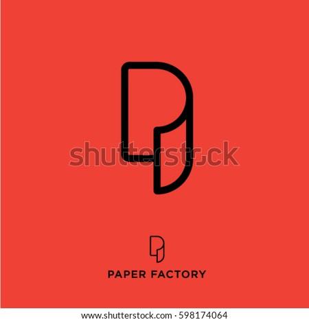 P monogram. P logo. Paper factory emblem. Letter P as a paper roll. Wallpaper icon.