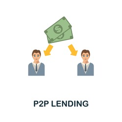 P2P Lending flat icon. Simple sign from crowdfunding collection. Creative P2P Lending icon illustration for web design, infographics and more