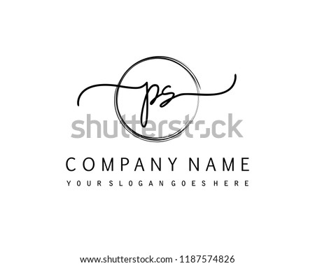 p s initial handwriting logo