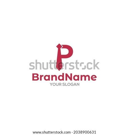 P Tie Logo Design Vector Zdjęcia stock ©