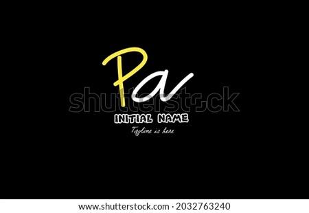 Pa initial handwriting logo template vector Stock fotó ©