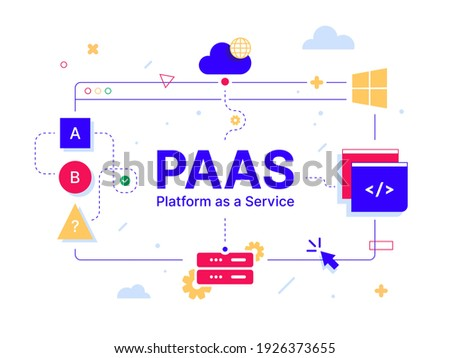 PaaS - Platform as a Service. Code line of programming internet application. Cloud software on computers with program code on the screen, infographic elements icon, app, virtual screens on white