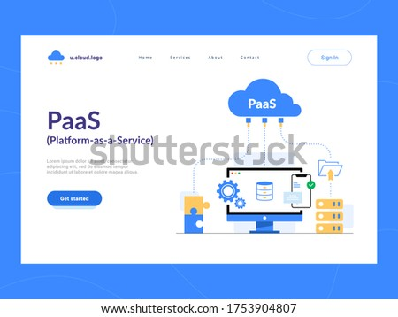 PaaS: Platform as a Service first screen. Cloud components for software, a framework to build customized applications. Optimization of business process for startups, small companies and enterprises.