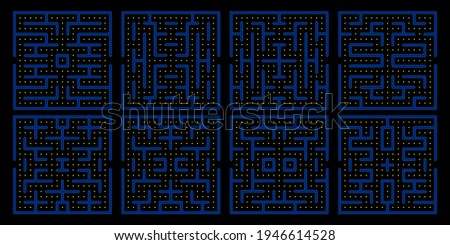 Pac man game maze set. Eighties videogame pacman labyrinths, yellow guy and angry ghosts video game backgrounds for vintage gaming app