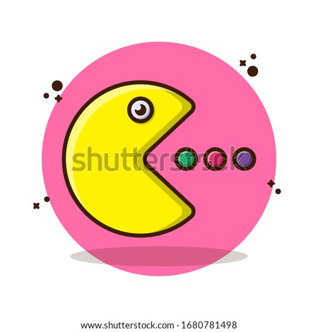 Pac Man with Eat Vector Illustration. Set Game, pacman, kids, children, 90s, 80s, gamepad, gameboy, yellow, monster, ghost, 8bit. Flat Cartoon Style Suitable for Sticker, Wallpaper, Icon, etc.