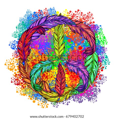 Pacific - a symbol of the hippie made of colored feathers in Boho style. Retro style in the 1960s, 60s, 70c. Peace and Love.