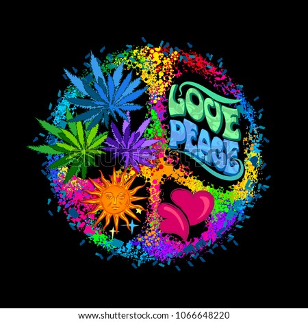 Pacific - a symbol of the hippie with leaves of cannabis a heart and sun. Retro style in the 1960s, 60s, 70c Peace and Love. Rainbow psychedelic colors on a black background.
