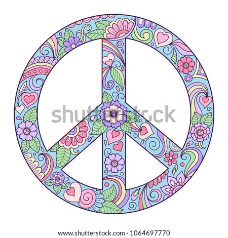 Pacific - bright, colored on white background. The symbol of the world is made of flowers. Retro sign of love, peace and pacifism performed hand-made in the style of doodle.