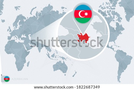 Pacific Centered World map with magnified Azerbaijan. Flag and map of Azerbaijan on Asia in Center World Map.