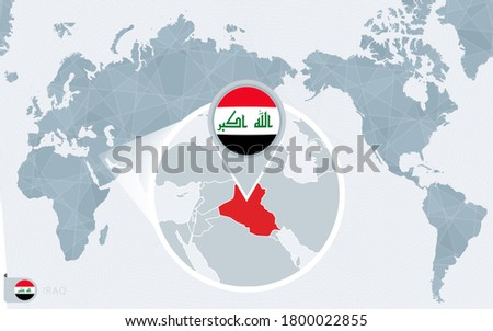 Pacific Centered World map with magnified Iraq. Flag and map of Iraq on Asia in Center World Map.