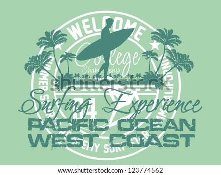 pacific surfer vector art - stock vector