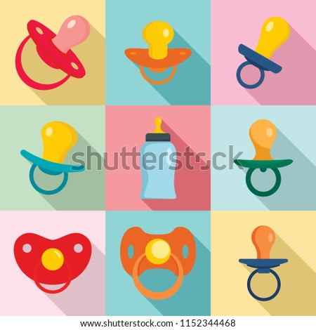 Pacifier baby dummy care nipple newborn child icons set. Flat illustration of 9 pacifier baby dummy care nipple newborn child vector icons for web