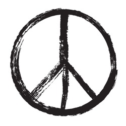 Pacifist sign.Peace symbol in grunge style.Vector illustration.