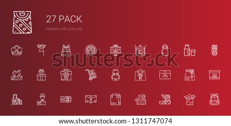 pack icons set. Collection of pack with gifts, shopping bag, gift, delivery courier, suitcase, package, backpack, packs, milk, unboxing, box. Editable and scalable pack icons.