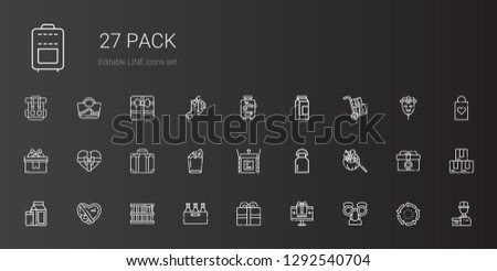 pack icons set. Collection of pack with mask, gift, present, beer, box, milk, unboxing, paper bag, suitcase, packs, delivery courier, repeat. Editable and scalable pack icons.