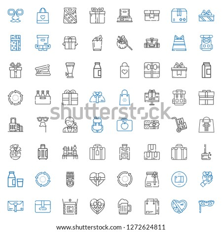 pack icons set. Collection of pack with mask, gift, shopping bag, beer, unboxing, package, paper bag, repeat, milk, wiping, suitcase, box, packs. Editable and scalable pack icons.