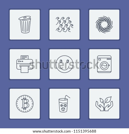 Pack icons set with wave, ecosystem and dry cleaning elements. Set of pack icons and sea concept. Editable vector elements for logo app UI design.