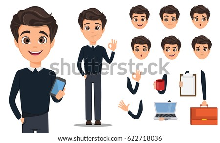 Pack of body parts and emotions. Vector character illustration in cartoon style Business man cartoon character creation set. Young handsome smiling businessman in smart casual.