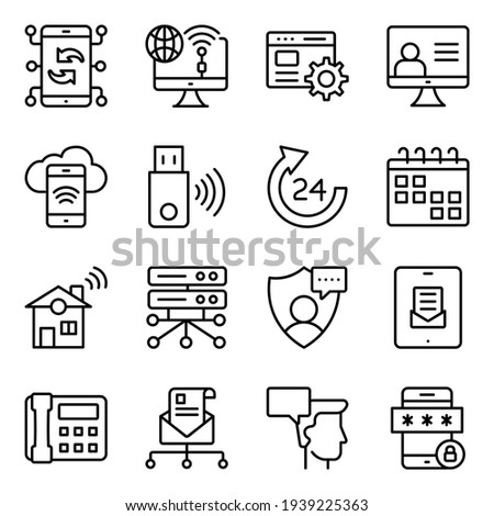 Pack of Communication, Technology and Devices Linear Icons Photo stock ©