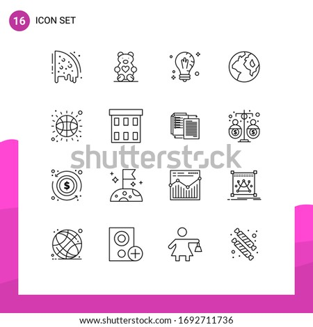 Pack of 16 creative Outlines of basketball; worldwide; mind; globe; light Editable Vector Design Elements