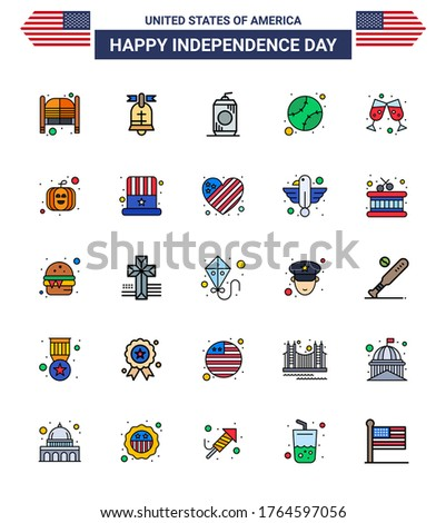 Pack of 25 creative USA Independence Day related Flat Filled Lines of beer; states; usa; baseball; usa Editable USA Day Vector Design Elements