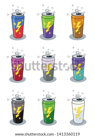 Pack of 9 different colored energy drink vector illustrations with sparkling effects. You can edit any element different color as you wish.