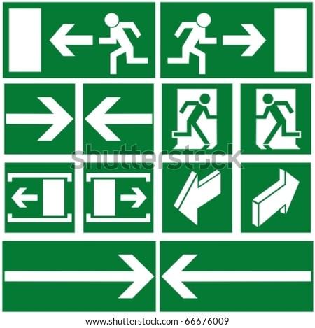 Pack of green evacuation symbols