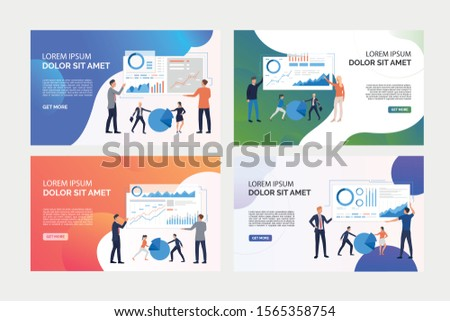 Pack of images with people analysing business graphs. Development, optimization, teamwork. Flat vector illustration. Business analysis concept for banner, website design or landing web page