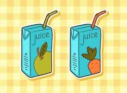 pack of juice with drinking straw