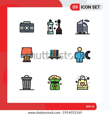 Pack of 9 Modern Filledline Flat Colors Signs and Symbols for Web Print Media such as data; files; building; disk rom; cd rom Editable Vector Design Elements Foto stock ©