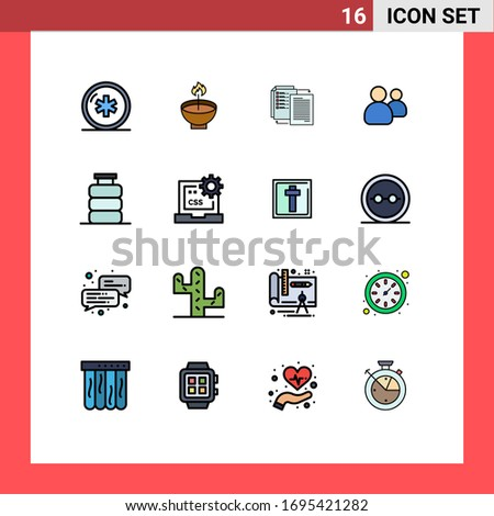 Pack of 16 Modern Flat Color Filled Lines Signs and Symbols for Web Print Media such as friends; wlan; diwali; transfer; file Editable Creative Vector Design Elements