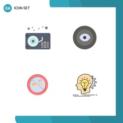Pack of 4 Modern Flat Icons Signs and Symbols for Web Print Media such as audio; no; achievement; wreath; creative Editable Vector Design Elements