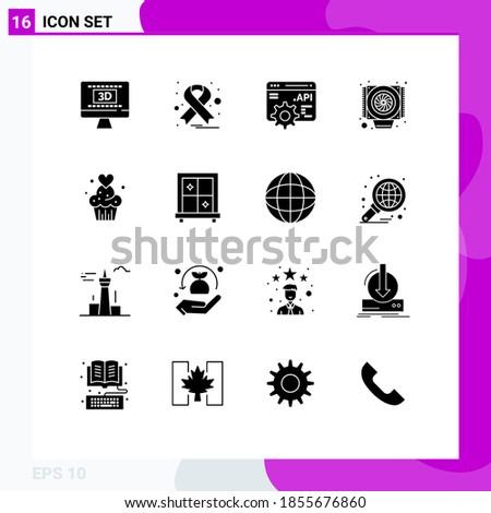 pack of 16 modern solid glyphs