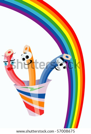 Pack of pencils is flying along the rainbow - stock vector
